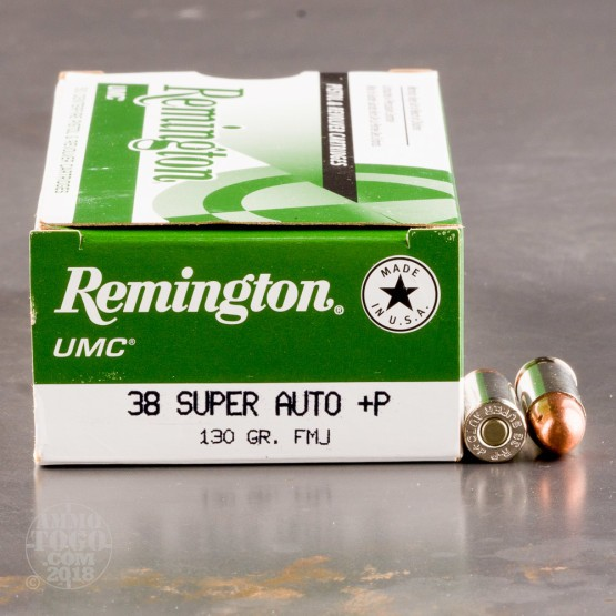 50rds - 38 Super Auto Remington UMC 130gr. +P FMJ Ammo