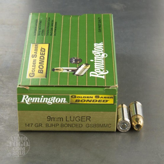 50rds - 9mm Remington Golden Saber Bonded 147gr. JHP Ammo