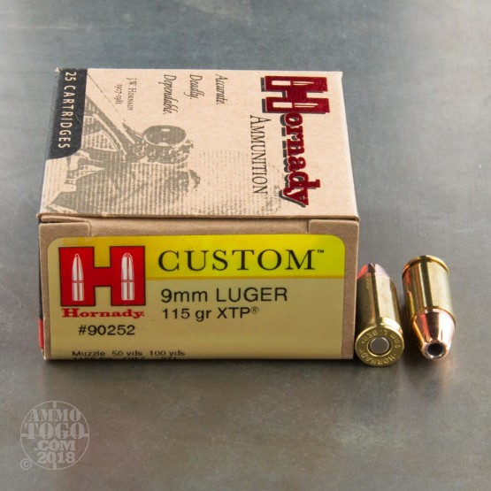 250rds - 9mm Hornady Custom 115gr XTP HP Ammo