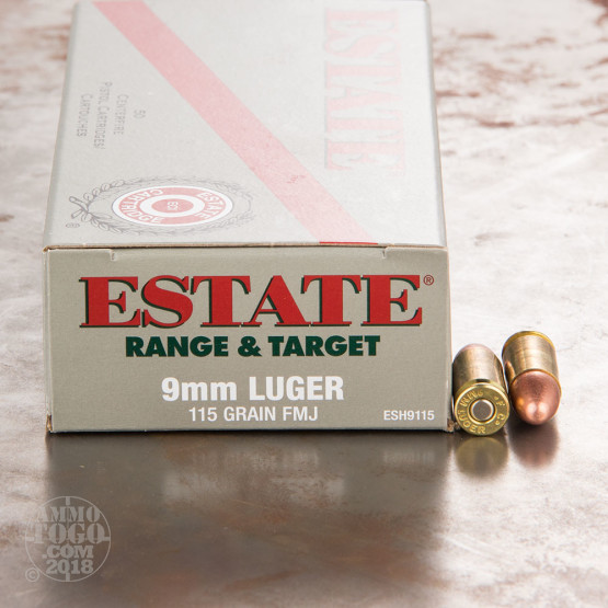 1000rds - 9mm Estate 115gr. FMJ Ammo