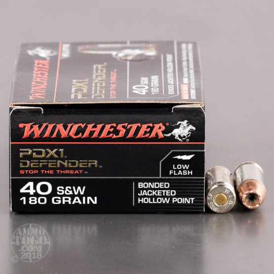20rds - 40 S&W Winchester Supreme Elite 180gr. Bonded PDX Ammo
