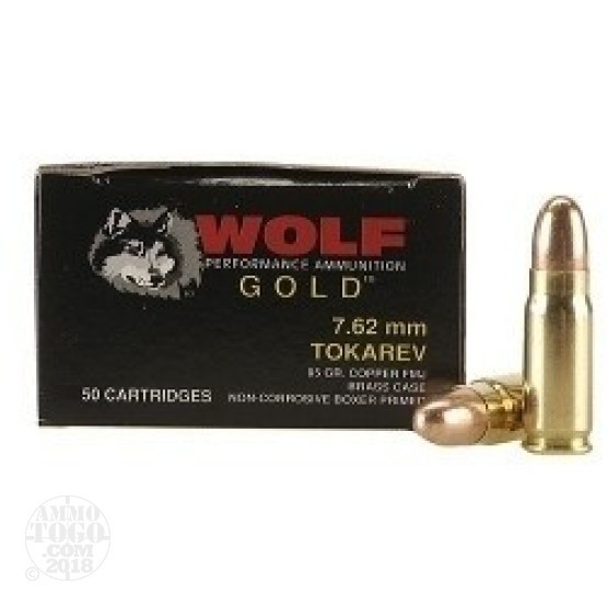 50rds - 7.62x25 Tokarev Wolf Gold 85gr. FMJ Ammo