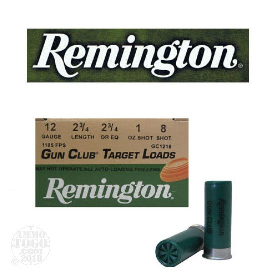 "25rds - 12 Gauge Remington Gun Club 2 3/4""  1oz. #8 Shot"