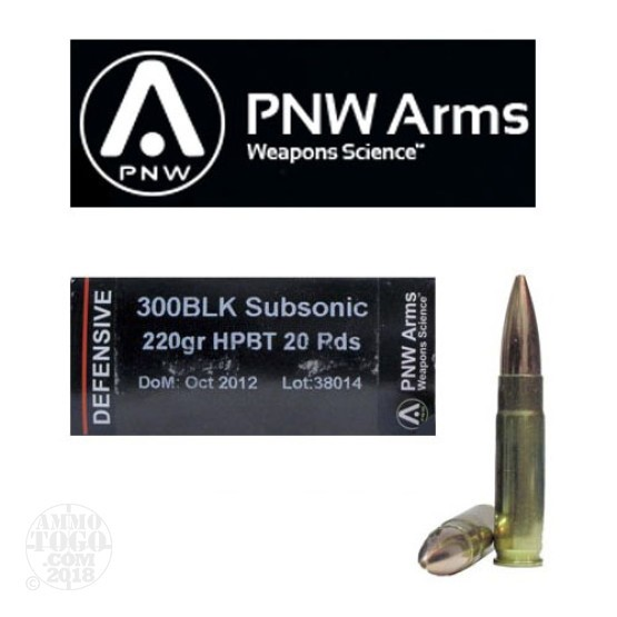 20rds - .300 AAC BLACKOUT PNW Arms Sierra MatchKing 220gr. Subsonic HPBT Ammo