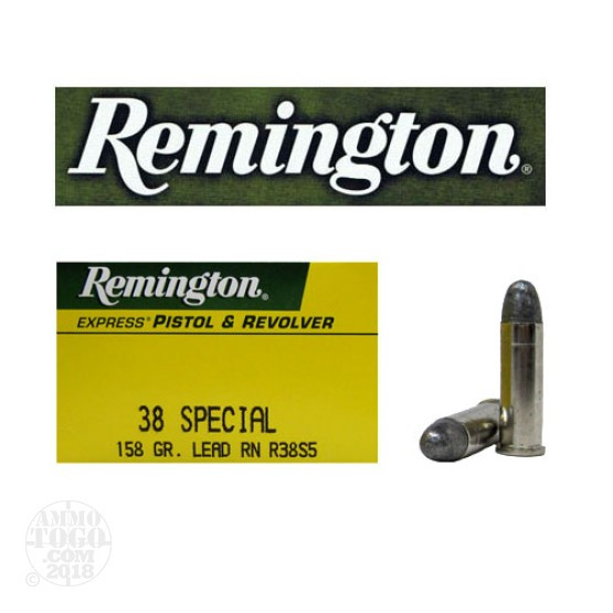 50rds - 38 Special Remington Express 158gr. Lead Round Nose Ammo