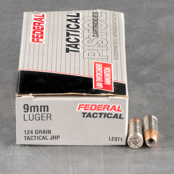 50rds - 9mm Federal LE Tactical Bonded 124gr. HP Ammo