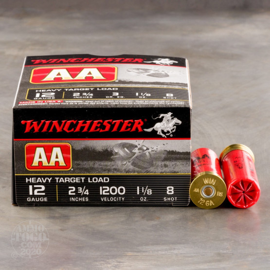 """250rds - 12 Gauge Winchester AA Heavy Target Load 2-3/4"""" 1-1/8 Ounce #8 Shot Ammo"""