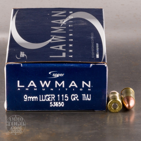 Speer Lawman 9mm ammo with 115 grain TMJ bullet