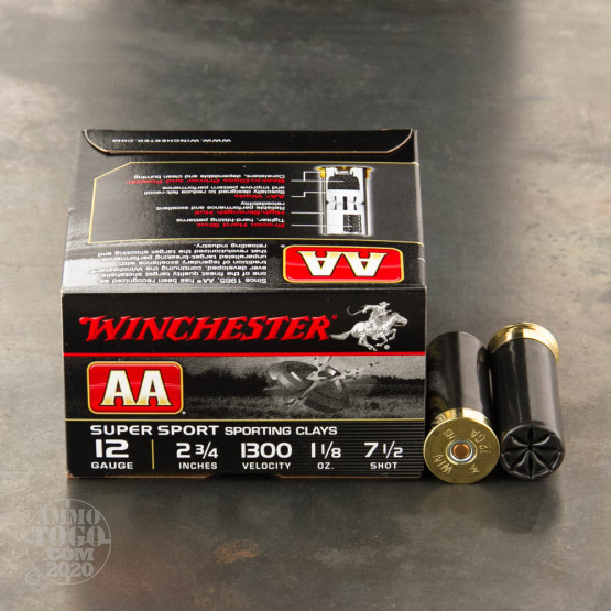 """250rds – 12 Gauge Winchester AA Sporting Clay 2-3/4"""" 1-1/8 oz. #7-1/2 Shot Ammo"""