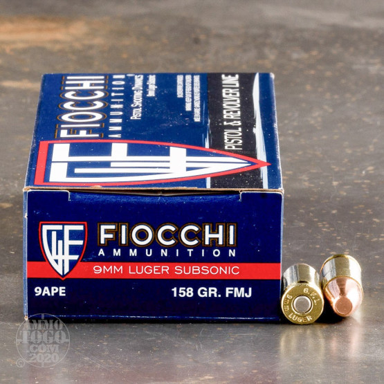 Fiocchi 158 grain subsonic 9mm ammunition