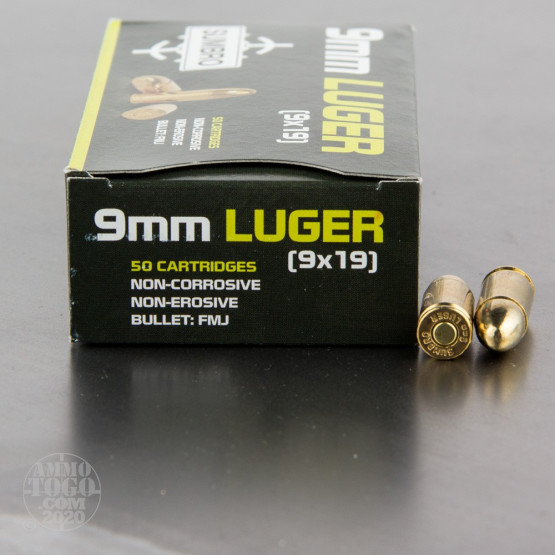 50rds - 9mm Luger Sumbro 115gr. FMJ Ammo