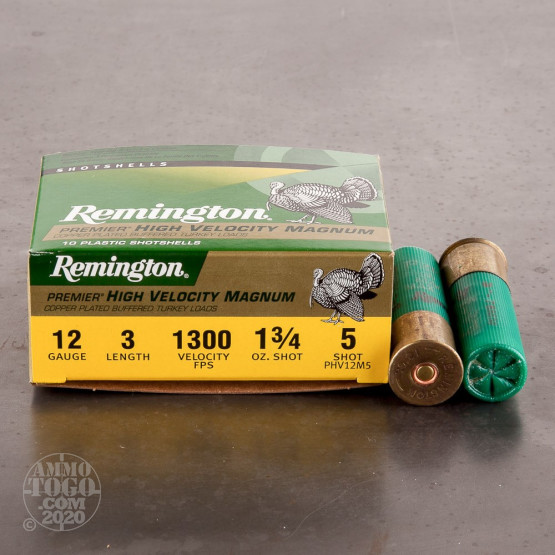 "10rds - 12 Gauge Remington Premier HV Magnum 3"" 1 3/4oz. #5 Turkey Ammo"
