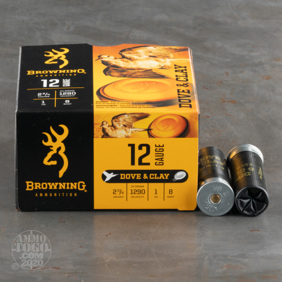 """25rds – 12 Gauge Browning Dove & Clay 2-3/4"""" 1oz. #8 Shot Ammo"""