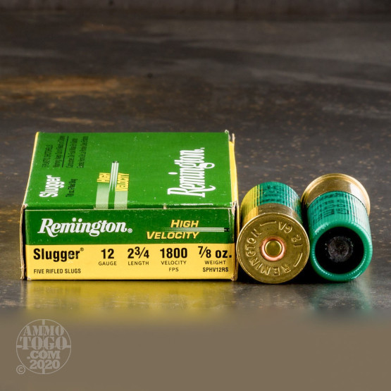 "5rds - 12 Gauge Remington Slugger 2 3/4"" 7/8 Ounce High Velocity Rifled Slug Ammo"
