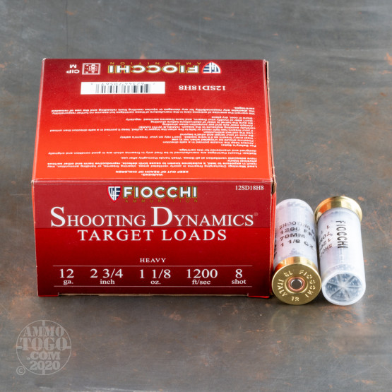 "250rds - 12 Gauge Fiocchi Heavy Target Shooting Dynamics 2 3/4"" 1 1/8oz. #8 Shot Ammo"