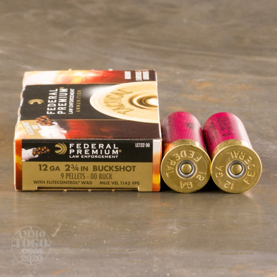 """250rds – 12 Gauge Federal Tactical LE with FliteControl Wad 2-3/4"""" 00 Buck 9 Pellets Ammo"""