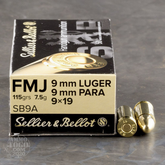 50rds - 9mm Sellier & Bellot 115gr. FMJ Ammo