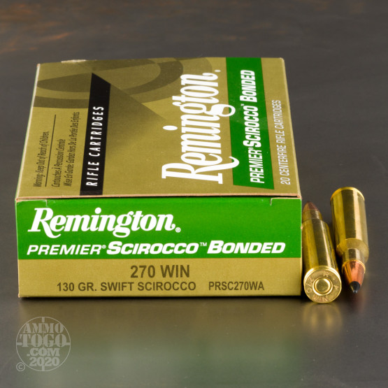 20rds - 270 Win Remington Premier 130gr. Swift Scirocco Bonded Ammo