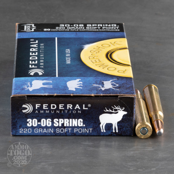 20rds - 30-06 Federal Power-Shok 220gr. Hot-Cor Soft Point Ammo
