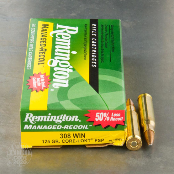 20rds – 308 Win Remington Managed-Recoil 125gr. Core-Lokt PSP Ammo