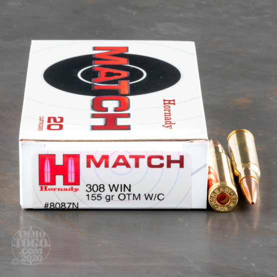 20rds – 308 Win Hornady Match 155gr. OTM with Cannelure Ammo