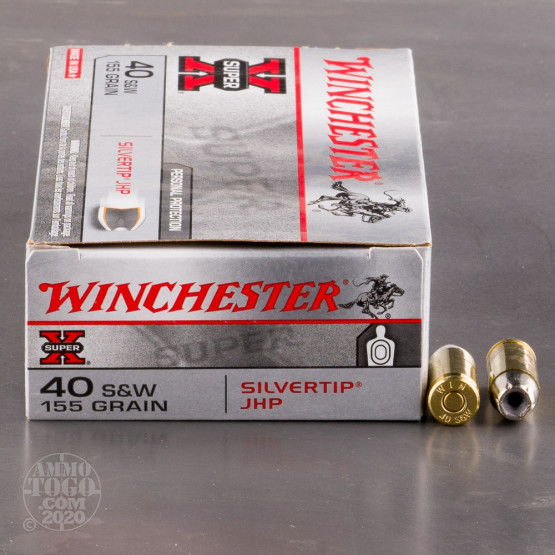 50rds - 40 S&W Winchester Silvertip 155gr. Hollow Point Ammo