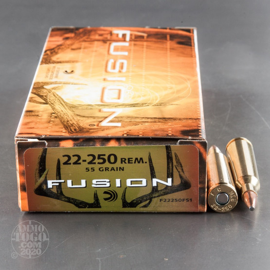 20rds - 22-250 Federal Fusion 55gr. SP Ammo