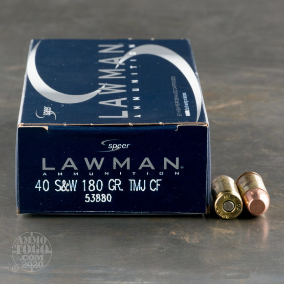 50rds - 40 S&W Speer Lawman Clean-Fire 180gr. TMJ Ammo