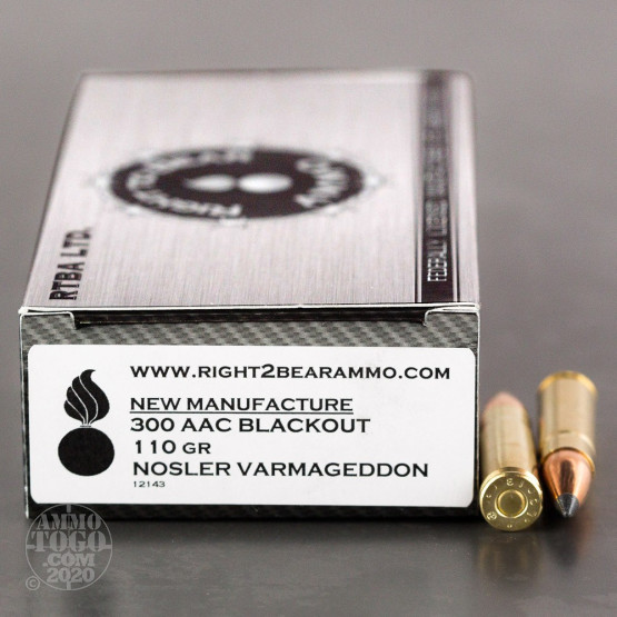 20rds - 300 AAC BLACKOUT Right to Bear 110gr. Nosler Varmageddon Polymer Tip Ammo
