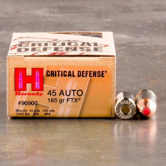 20rds - .45 ACP Hornady Critical Defense 185gr. HP Ammo
