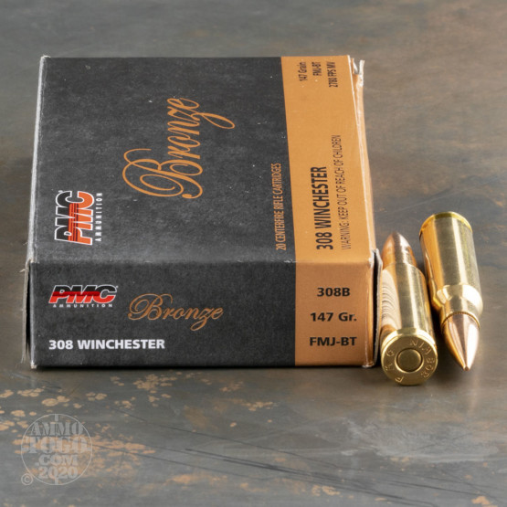 20rds - .308 PMC Bronze 147gr. FMJ-BT Ammo