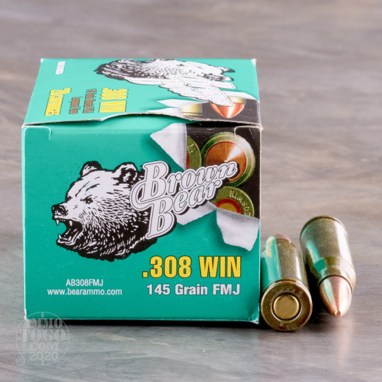 20rds - .308 Brown Bear 145gr. FMJ Ammo