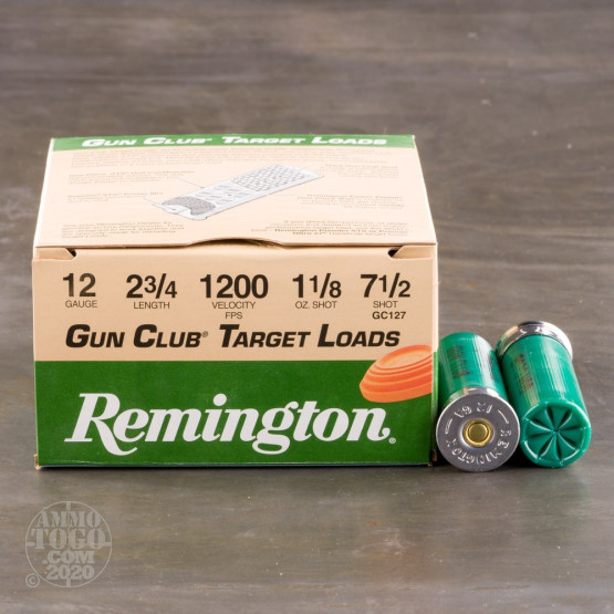"250rds - 12 Gauge Remington Gun Club 2 3/4"" 1 1/8oz. #7 1/2 Shot Ammo"