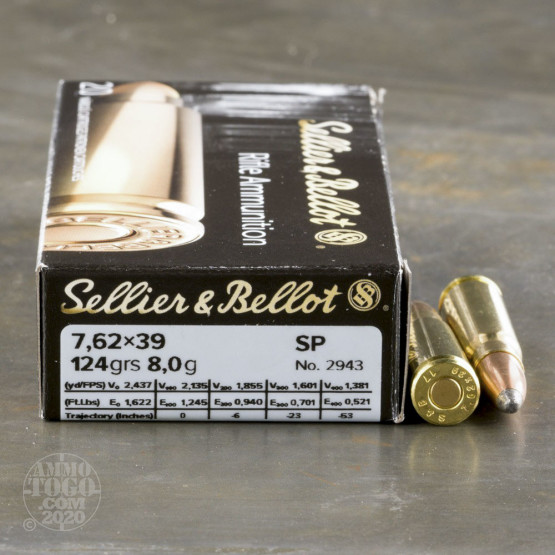 20rds – 7.62x39 Sellier & Bellot 124gr. SP Ammo