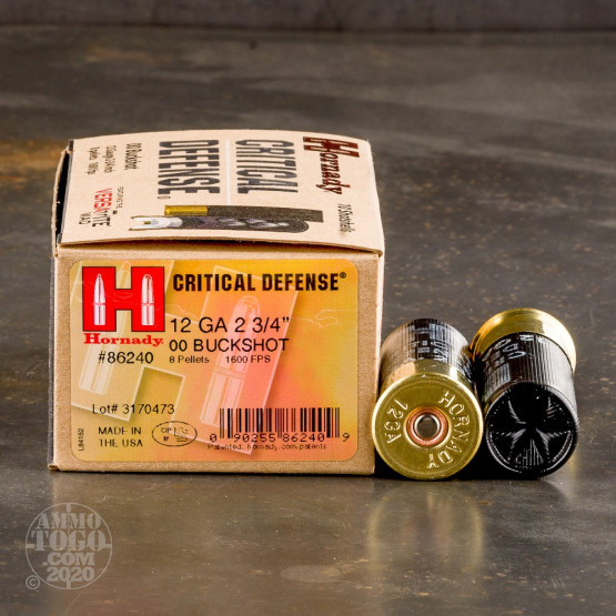 10rds - 12 Ga. Hornady CRITICAL DEFENSE Full Power 8 Pellet 00 Buckshot Ammo 2 3/4