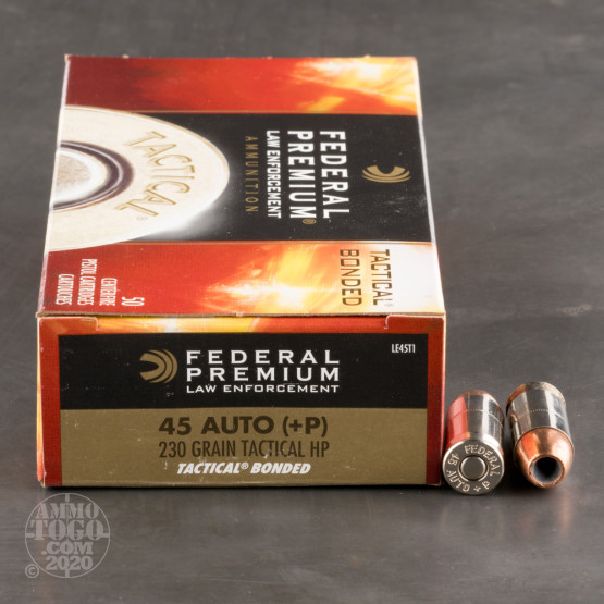50rds - 45 ACP Federal LE Tactical Bonded 230gr. +P HP Ammo