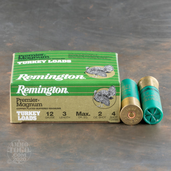 "10rds - 12 Gauge Remington Premier Magnum Turkey 3"" 2oz. #4 Shot Ammo"