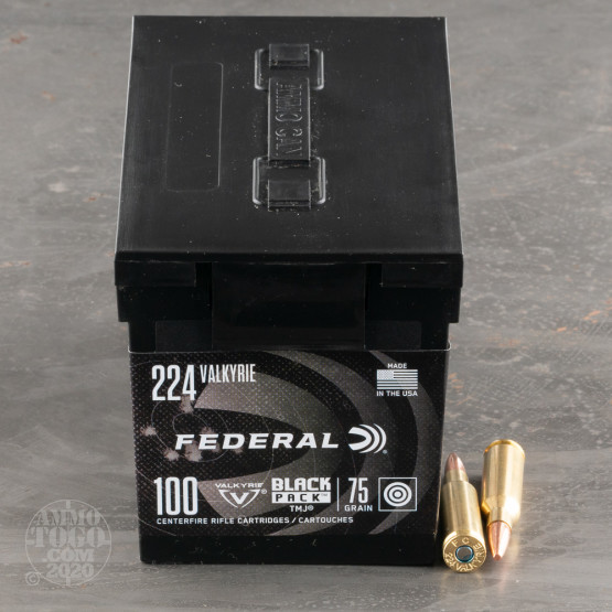 100rds – 224 Valkyrie Federal Black Pack 75gr. TMJ Ammo