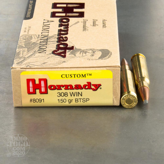 200rds - 308 Win. Hornady 150gr. Boattail Soft Point Ammo