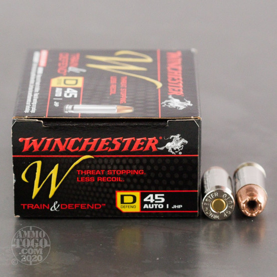 20rds - 45 ACP Winchester W Train & Defend 230gr. JHP Ammo