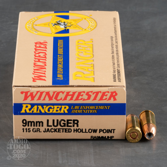 50rds - 9mm Winchester Ranger 115gr. Hollow Point Ammo