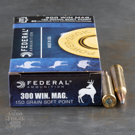 20rds - 300 Win. Mag Federal Power-Shok 150gr. Soft Point Ammo