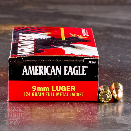 50rds - 9mm Federal American Eagle 124gr. FMJ Ammo