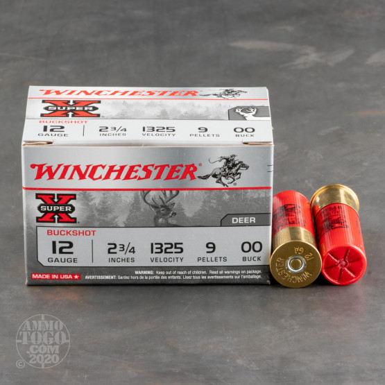 "150rds - 12 Ga. Winchester Super-X Full Power 2 3/4"" 9 Pellet 00 Buck Value Pack Ammo"