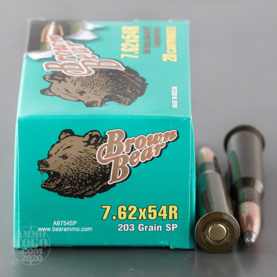 20rds - 7.62x54R Brown Bear 203gr. SP Ammo
