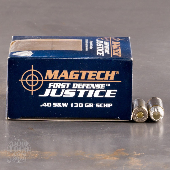 20rds - 40 S&W Magtech First Defense Justice 130gr. SCHP Ammo