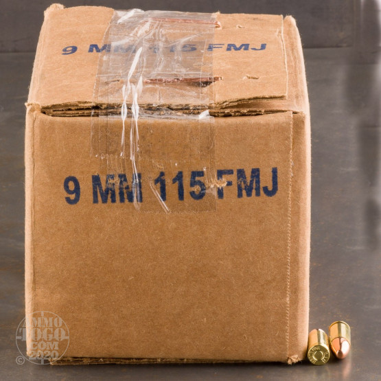 100rds - 9mm DRS 115gr. FMJ Ammo (Once Fired Brass)