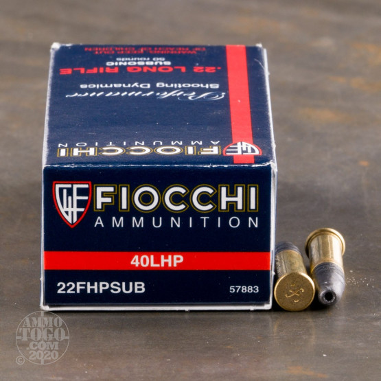 50rds - 22LR Fiocchi 40gr. Subsonic Hollow Point Ammo