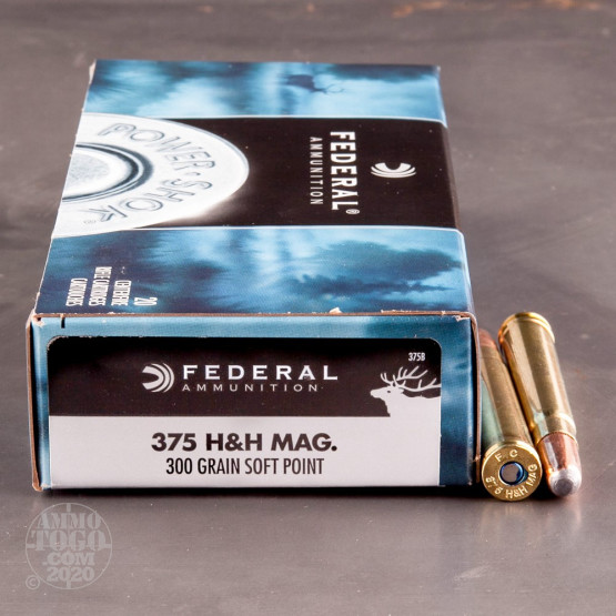 20rds - 375 H&H Mag Federal Power-Shok 300gr. JSP Ammo
