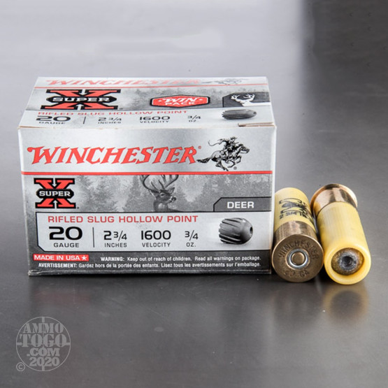 "15rds – 20 Gauge Winchester Super-X 2-3/4"" 3/4oz. Rifled Slug"